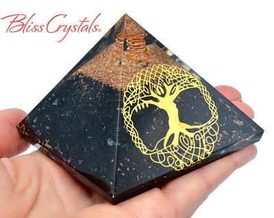 SHUNGITE Tree of Life Orgone Pyramid + Copper Healing Crystal and Stone #SP80