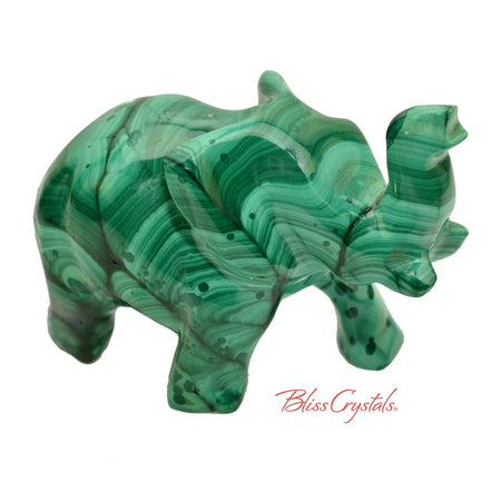 3.6 oz Malachite Elephant Carving Crystal Sculpture #ME09