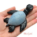 Black Onyx + Angelite Turtle Stone Yellow Eye Color Carving Decor, Sculpture #AT35