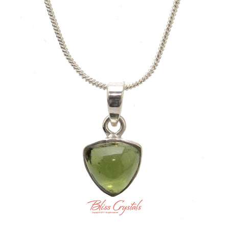 1.5gm MOLDAVITE Polished Pendant + Chain Natural Crystal Stone Sterling Silver .925 Bezel & Bale Healing Crystal and Stone Necklace #MP10