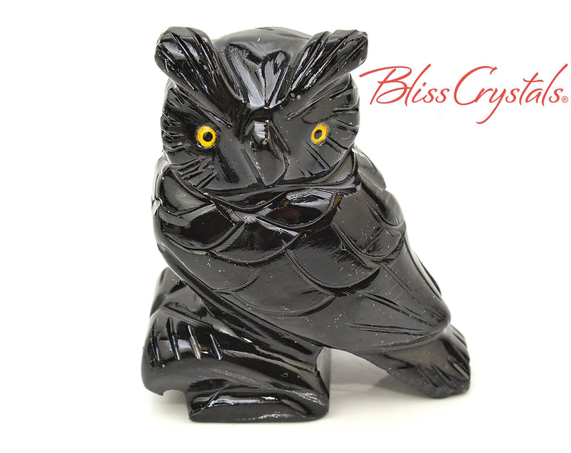 1 Onyx Horned Owl Stone Yellow Eye Color Carving, Wing, Black Bird, Animal Decor, Healing Crystal and Stone #BB09