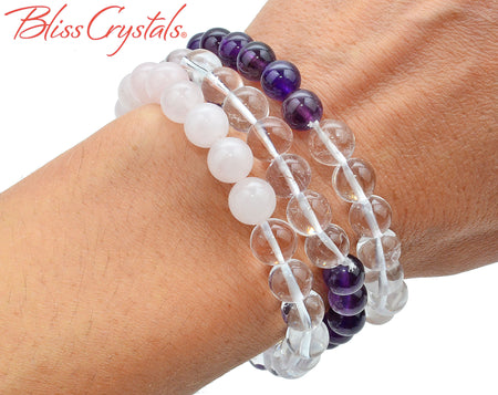 1 Amethyst, Rose, and Clear QUARTZ Stretch Bracelet, 8 mm Polished Beaded Jewerly #AB73