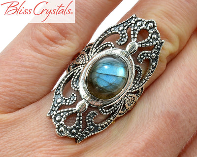 Labradorite Ring Size 6 Sterling Silver Fancy Shield, filigree panel Healing Crystal and Stone #LR34