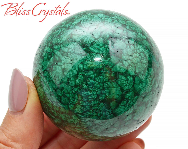 54 mm MALACHITE Polished Sphere + Stand, Collector Quality #MS40