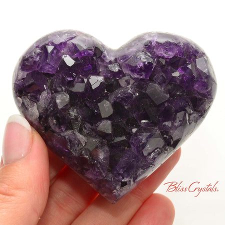 2.6 inch AMETHYST Heart Polished Edge Geode + Stand for Meditation #AH46 #shrm