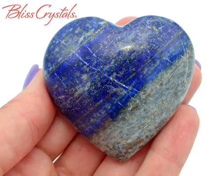 LAPIS LAZULI Heart 2.1 inch w Pyrite + Stand Healing Crystal and Stone #LH30