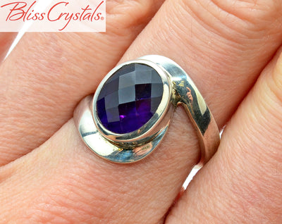 AMETHYST Ring Size 7.5 Oval Faceted Stone Healing Crystal and Stone Jewelry #AR50
