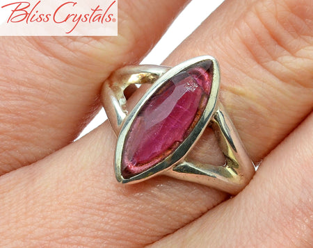 Pink Tourmaline Ring Size 7 Marquise Faceted Stone Healing Crystal and Stone #TR13