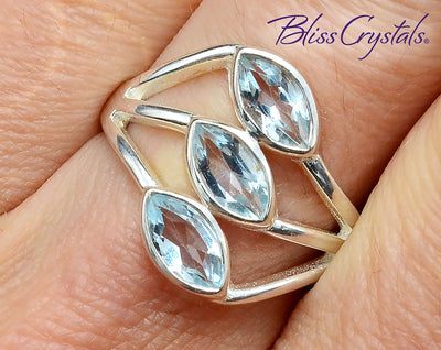 BLUE TOPAZ Triple Ring Size 8 Faceted Marquise Stone Healing Crystal and Stone #TR10 #shrm
