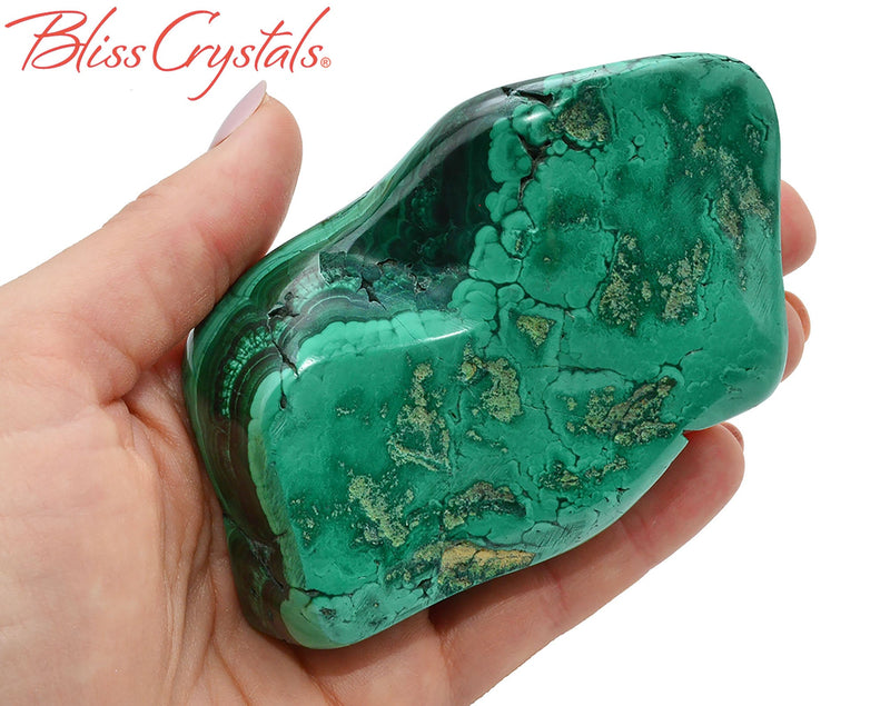 "4.1"" MALACHITE Polished Specimen + Stand for Protection #MS41"
