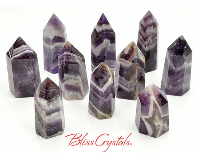 1 Banded AMETHYST Generator Medium Polished Tower Healing Crystal and Stone for Peace #AG29