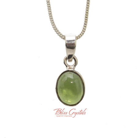 1.3gm MOLDAVITE Polished Pendant + Chain Natural Crystal Stone Sterling Silver .925 Bezel & Bale Healing Crystal and Stone Necklace #MP11