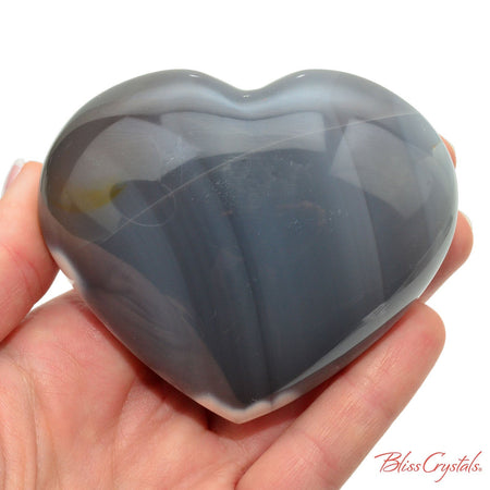 3.1 inch Orca Stone Polished Heart + Stand Blue Chalcedony Agate for Relaxation #BC51