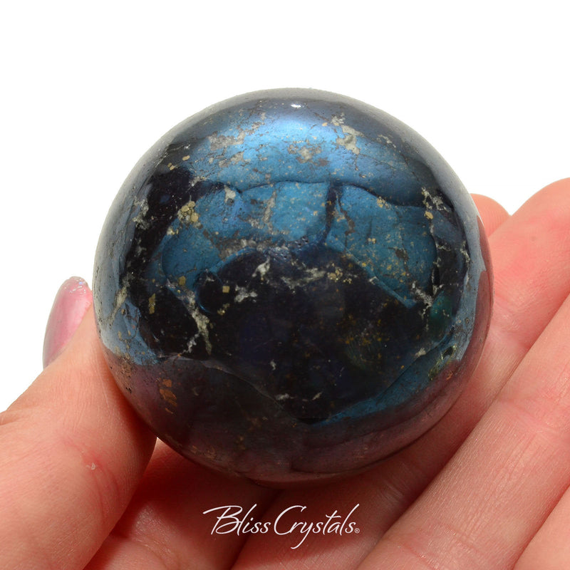 COVELLITE Polished Sphere + Stand Pyrite 45 mm Collector Quality #CS44