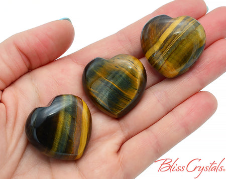 1 Small Blue Tiger's Eye Heart Polished Stone Healing Crystal and Stone for Courage #BT39