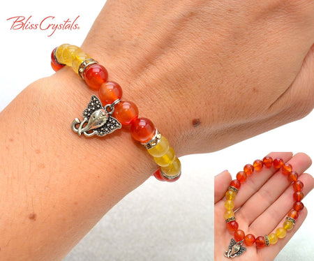 Carnelian & Gold Rutilated Quartz Ganesh Beaded Bracelet 8mm Crystal Beads Stretch Elephant Ganesh Yoga Jewelry #DB14