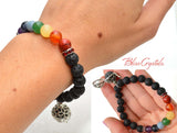 Chakra & Lava Beaded Diffuser Bracelet 8mm Stretch Crystal Aromatherapy Jewelry #DB28