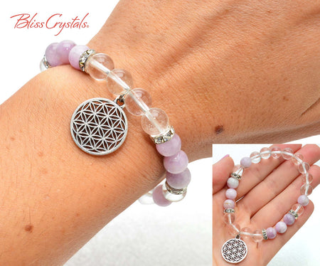 Kunzite & Quartz Flower of Life Beaded Bracelet 8mm Beads Stretch Healing Crystal Sacred Geometry Jewelry #DB11