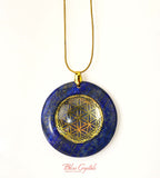 Sacred Geometry LAPIS LAZULI Pendant Necklace with Gold Symbol #LN22