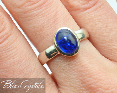 BLUE KYANITE Ring Size 8 Oval Stone Jewelry #KR01
