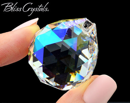 29 mm Faceted Crystal Prism Ball for Feng Shui, Aurora Borealis, Glass Light Catcher #FB31