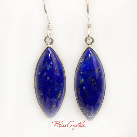 Lapis Lazuli Marquise Cabochon Style Earrings in Sterling Silver #LL15 #shrm