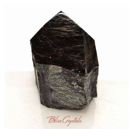 2.5 inch Black Tourmaline Generator Semi Polished Rough Point #BT49