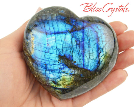 "3.3"" LABRADORITE Polished Heart + Stand Healing Crystal and Stone #LH35"