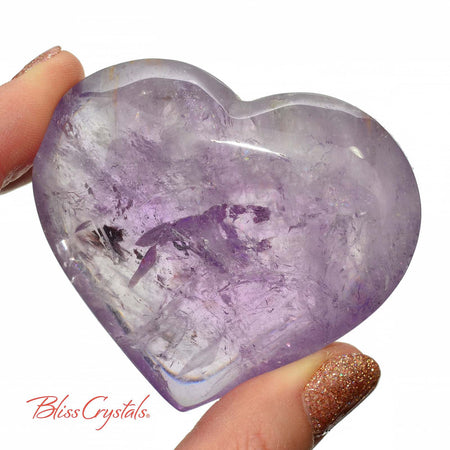 1 Super Gemmy AMETHYST Polished Puffy Heart + Stand Gemstone Lilac Amethyst #AH08