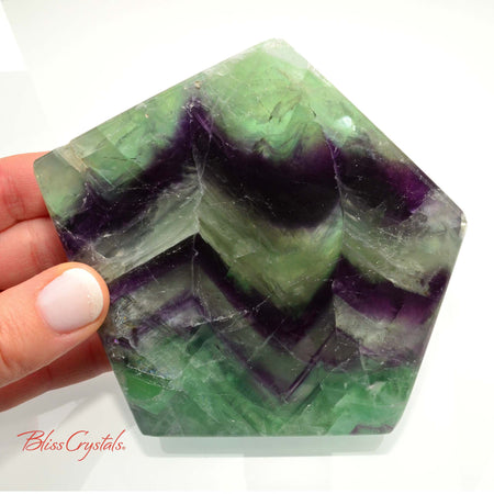 1 lb Thick Green & Purple FLUORITE Polished Polygon Slab 4.1 inch Memory, Focus, Protection #FS30