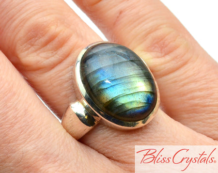 LABRADORITE Ring Size 6, Polished Oval Stone #LR33