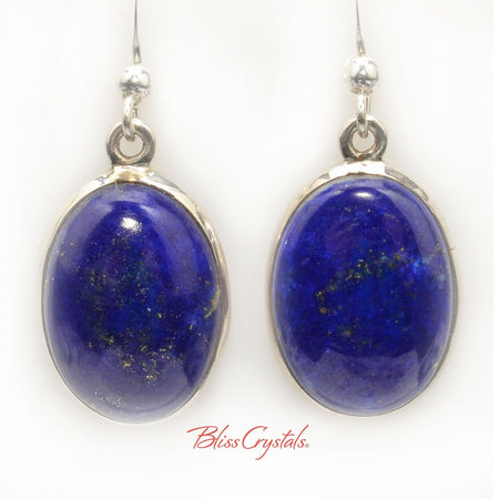 Lapis Lazuli Oval Cabochon Style Earrings in Sterling Silver #LL14 #shrm