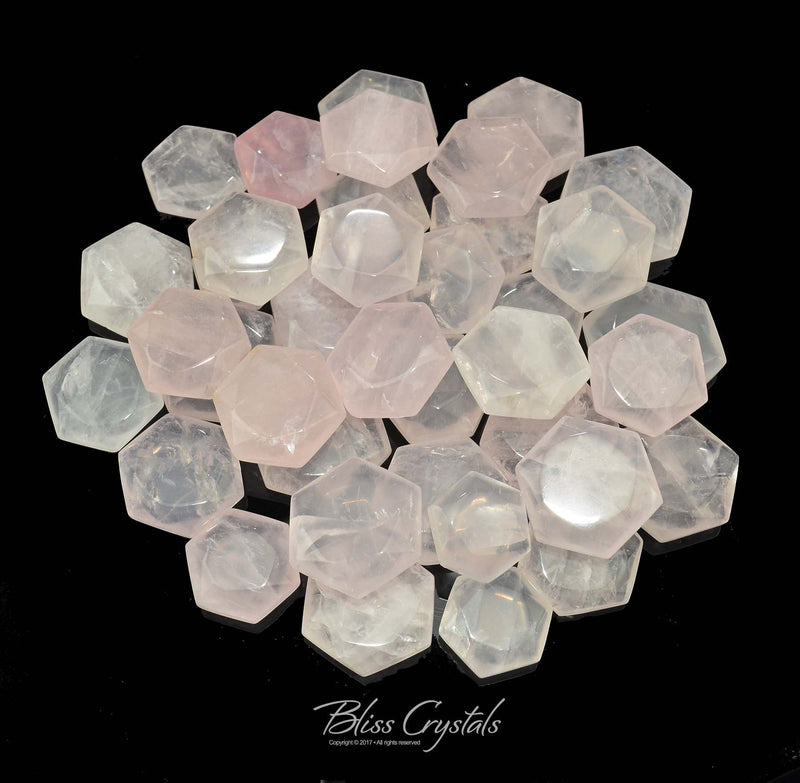 1 Star of David Gem Pillow Faceted ROSE QUARTZ Hexagon PolishedJewelry & Crafts Healing Crystal and Stone #SD01