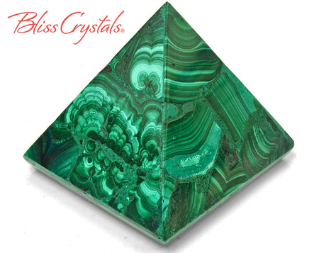 "2"" MALACHITE Pyramid 4 oz Collector Quality, Healing Crystal and Stone for protection #MP22"