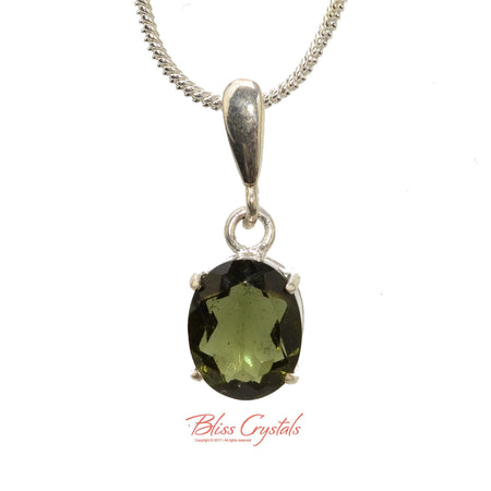 1.4gm MOLDAVITE Faceted Pendant + Chain Natural Crystal Stone Sterling Silver .925 Healing Crystal and Stone Necklace #MP15