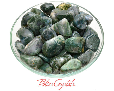 2 Green MOSS AGATE Tumbled Stone Healing Crystal and Stones for Abundance Prosperity #MA22