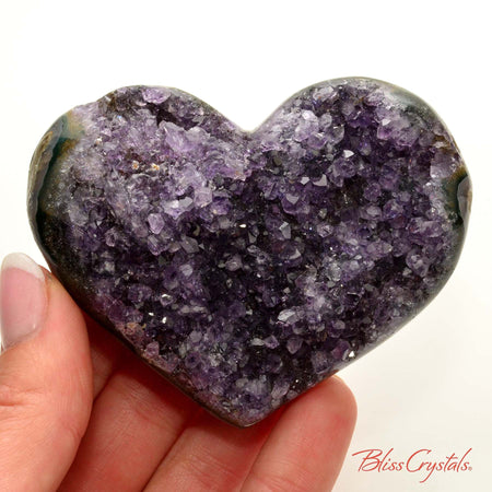 2.9 inch AMETHYST Heart Polished Edge Geode + Stand for Meditation #AH47 #shrm
