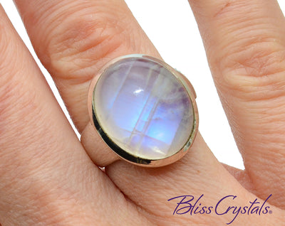 BLUE FLASH MOONSTONE Ring Size 5.5 Oval Stone Jewelry #MR35