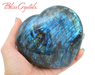 Huge 1 lb, 15 oz LABRADORITE Polished Heart + Stand Healing Crystal and Stone #LH23