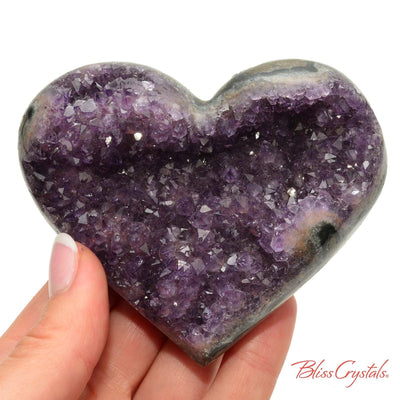 3.5 inch AMETHYST Heart Polished Edge Geode + Stand for Meditation #AH51 #shrm