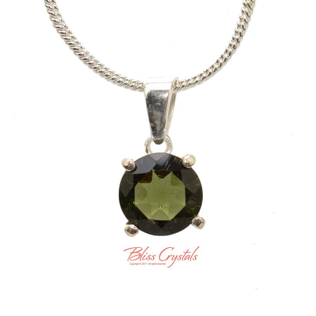 1.1gm MOLDAVITE Faceted Pendant + Chain Natural Crystal Stone Sterling Silver .925 Healing Crystal and Stone Necklace #MP16