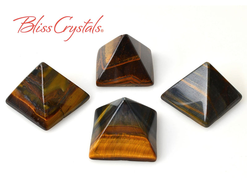 1 Gold TIGERS EYE Crystal PYRAMID Mini Gold, Blue Polished Stone #TP50