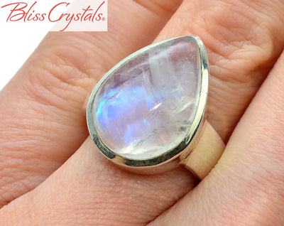 BLUE FLASH MOONSTONE Ring Size 5.5 Teardrop Shape Healing Crystal and Stone Jewelry #MR34