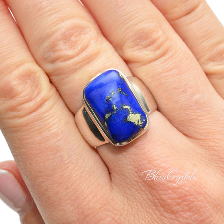 LAPIS LAZULI Ring Size 7.5 Stone with Gold Pyrite Inclusions Healing Crystal and Stone Jewelry #LR04