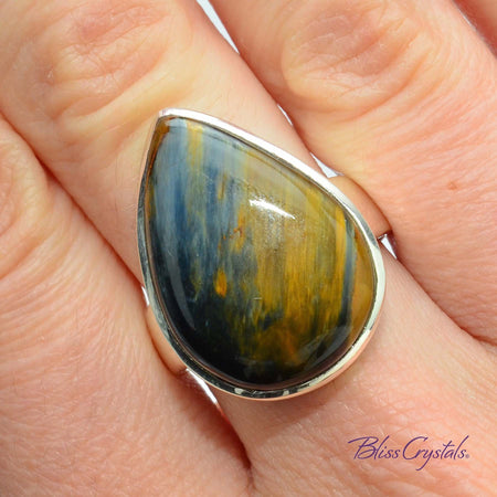 Pietersite Ring Size 7.75 Tear Drop Stone Jewelry #PR05 #shrm