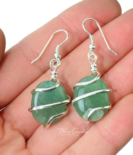 GREEN AVENTURINE Wire Wrapped EARRINGS Healing Crystal and Stone for Prosperity #GE10