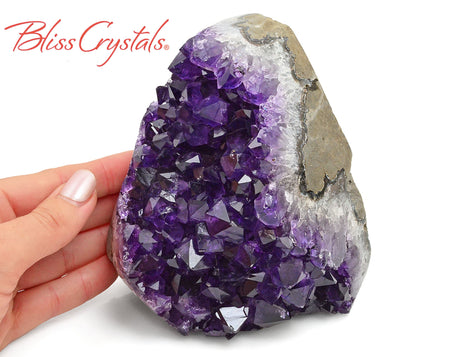 "4"" AMETHYST Polished Edge Geode Flat Cut Base 3 lb Specimen for Meditation #AP89"