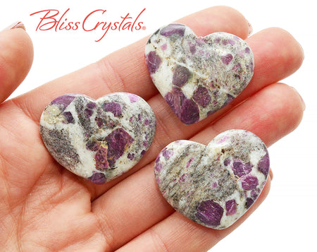 1 RUBY in GRANITE Flat Heart + Bag Healing Crystal and Stone for love #RG50