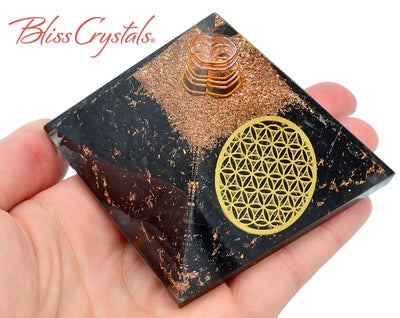SHUNGITE Flower of Life Orgone Pyramid + Copper Healing Crystal and Stone #SP79