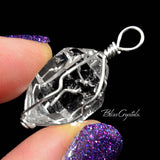 1 XL Herkimer Diamond Quartz Wire Wrapped Crystal Pendant #HD01
